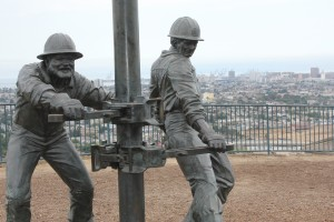 Sculpted oil workers stand frozen in time on a hill above the city and port they helped to build. You can visit the sculpture -- and get a great view of Long Beach -- at Skyline Drive and Dawson Avenue in Signal Hill.