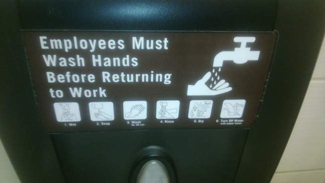 This six-step instruction guide – with pictures – on how to wash your hands is from Barnes and Noble's Starbuck store restroom at Marina Pacific shopping center in Long Beach. If one is unclear on the hand-washing concept, you can read all about it or just look at the pictures and figure it out.